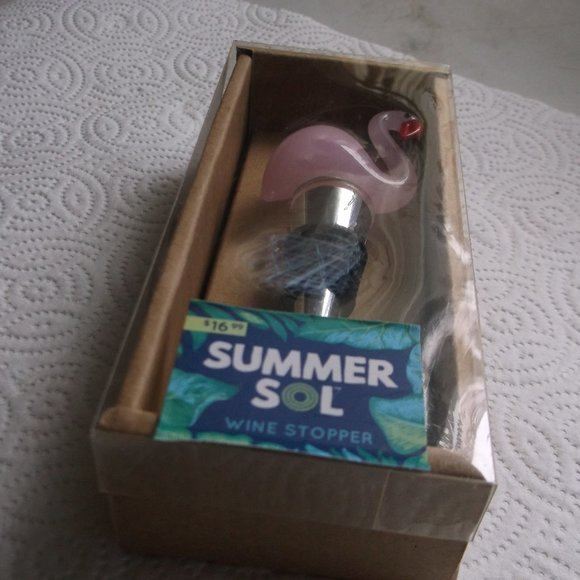 wine stopper .flamingo  on the top